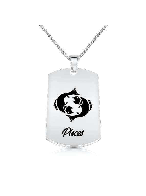 Pisces Nickel Plated Necklace (military Style) - Zodiac Horoscope Sign Jewelry