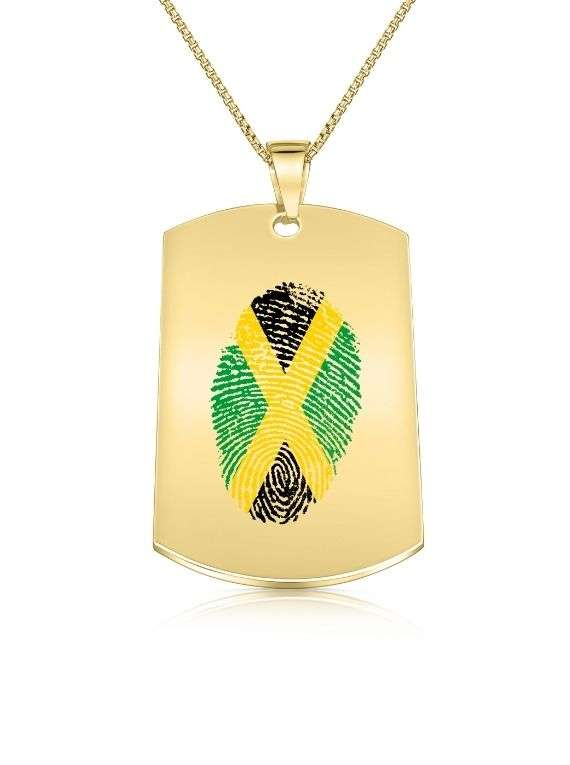 Jamaica Finger Print Military Style Necklace (gold Plated)