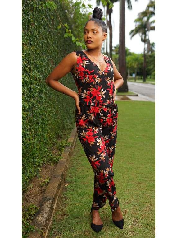 Rena Red Floral Jumpsuit