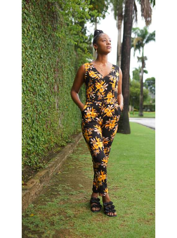 Rena Yellow Floral Jumpsuit