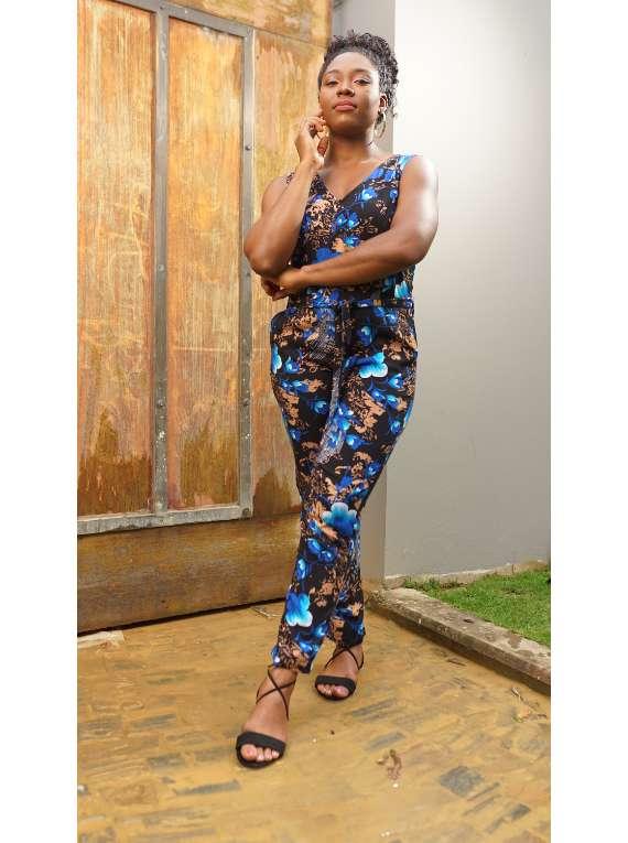 Rena Blue Floral Jumpsuit
