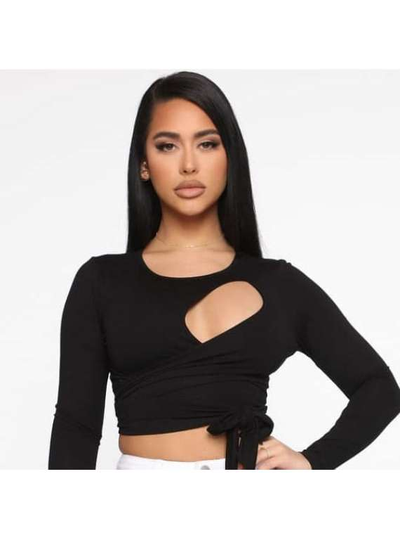 Black Wrap Around Women's Top
