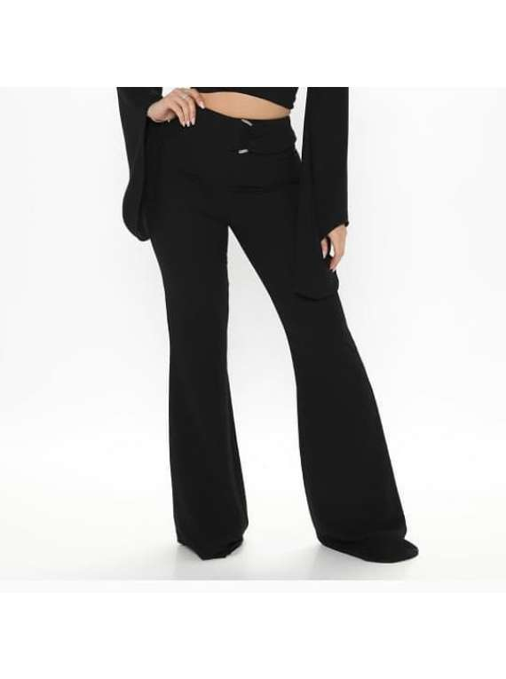 Wide Legs Pants With Half Ring Belt