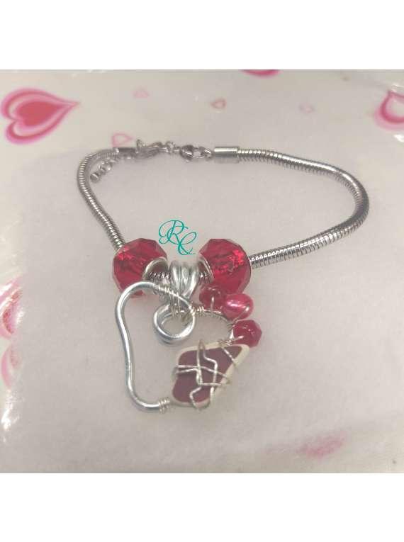 Heart On Fire Pandora Style Bracelet