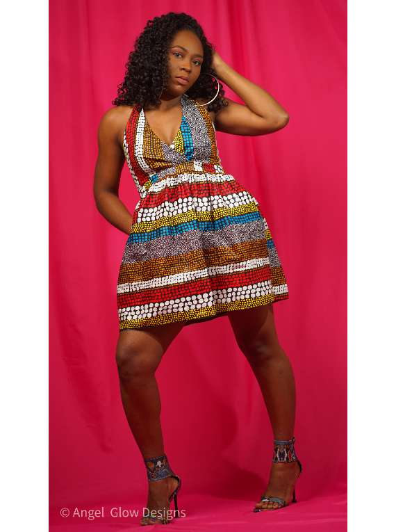 Tribal Mini Halter Dress