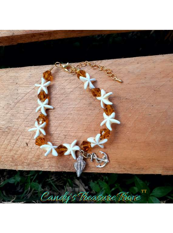 Golden Sea Charm Beaded Bracelet