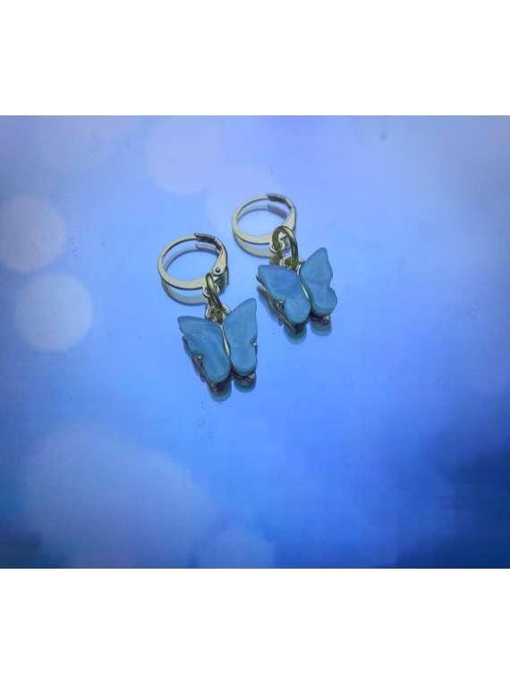 Mint Coloured Butterfly Hoop Earrings