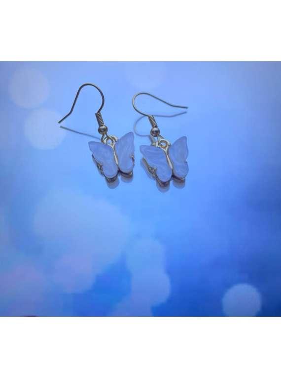 White Butterfly Hanging Earrings