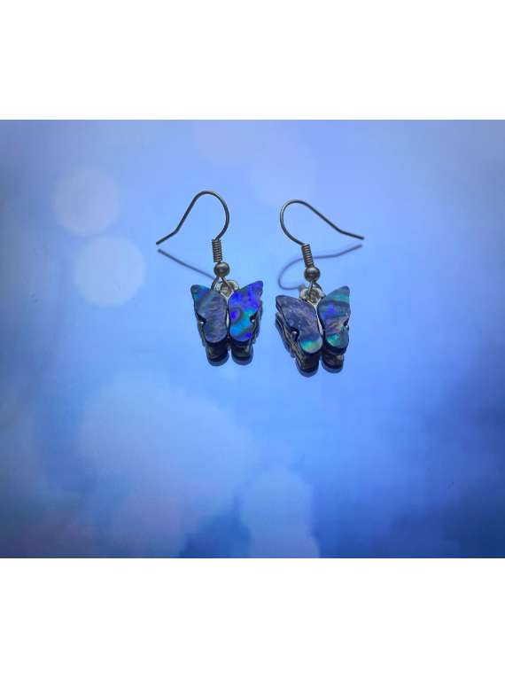 Abalone Shell Butterfly Hanging Earrings