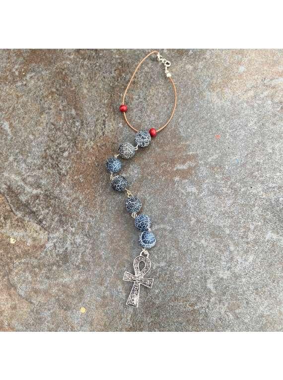 Agate Bead Car Charm With Ank Pendant