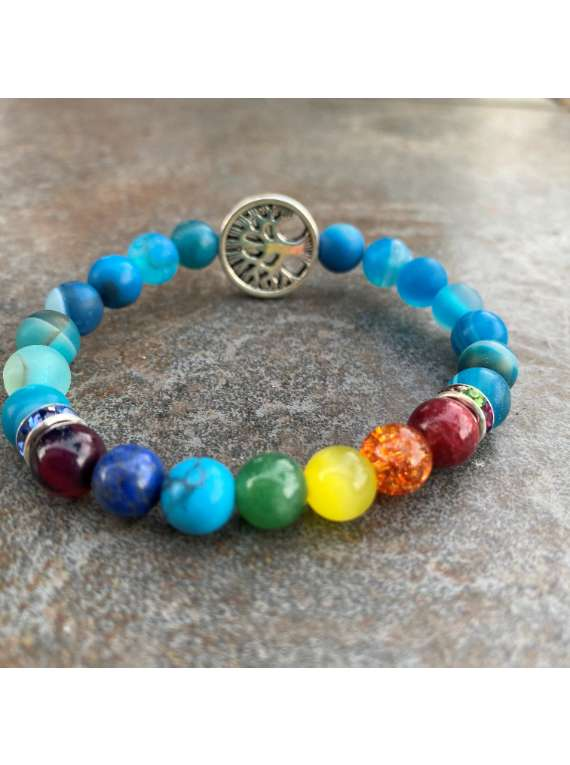 Blue Stones With Chakra And Tree Of Life