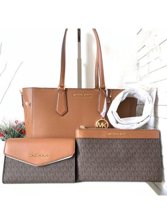 Michael Kors Kimberly 3 In 1 Leather Tote/crossbody/clutch