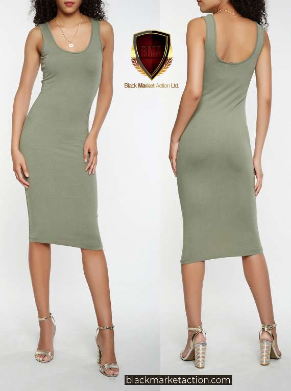 Solid Tank Midi Dress (green)
