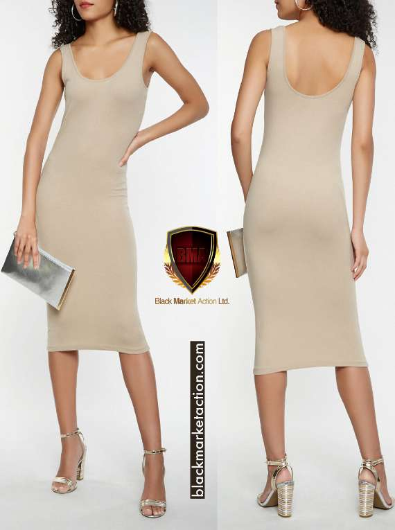 Solid Tank Midi Dress (taupe)
