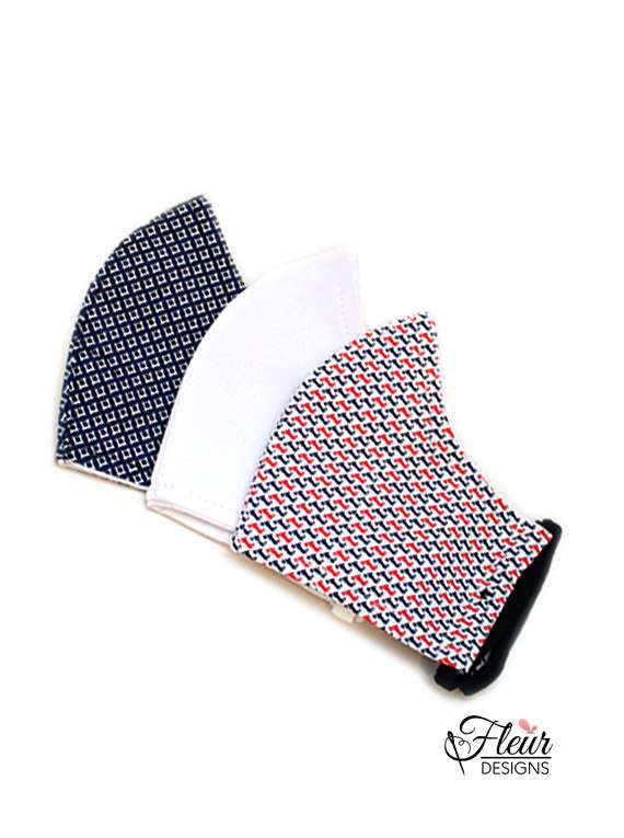 Mask Combo :tripack a (blue,red & White ) - Fleur Designs