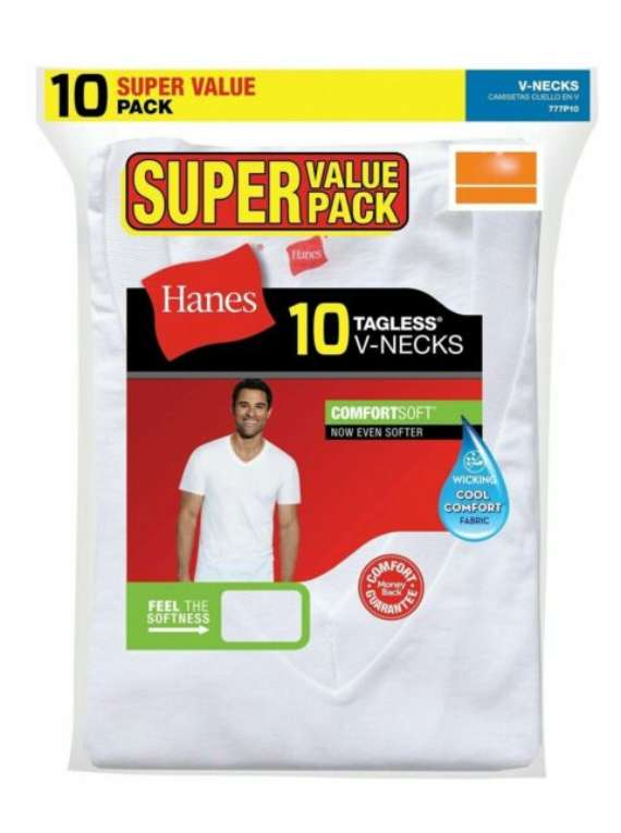 10PK Hanes Mens MEDIUM VNeck