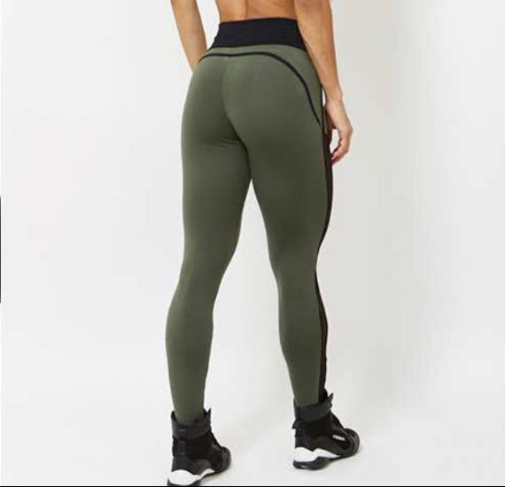 Army Green Legging With Mesh