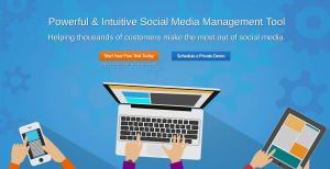 eClincher homepage, social media management tool