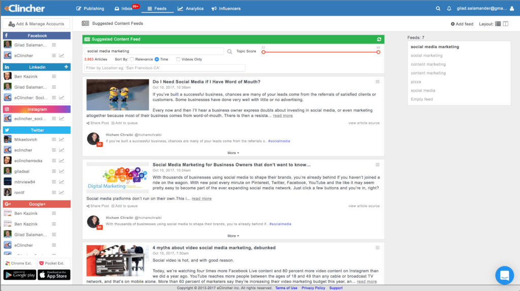 Social media tool with suggested and curated content feeds