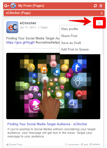 To share content from your RSS Feeds, click on the Options icon in the  right corner of the post.