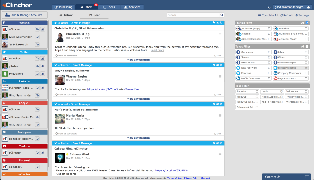 Unified Social Media Inbox, eClincher