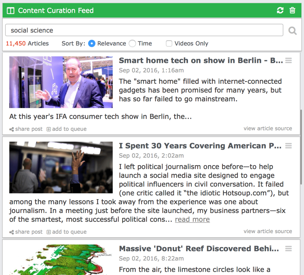 content curation feeds with eClincher