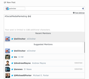 eClincher handles and hashtags recent mentions
