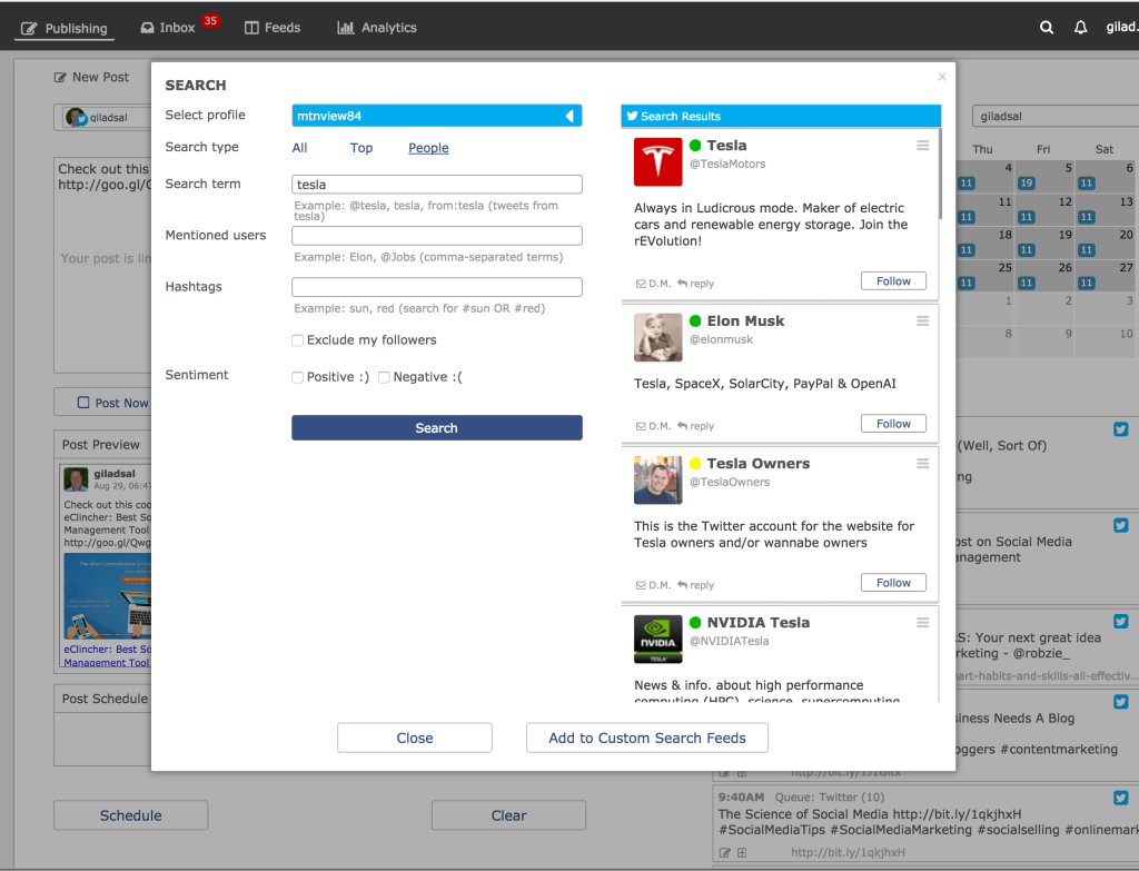 Social media quick search, with eClincher