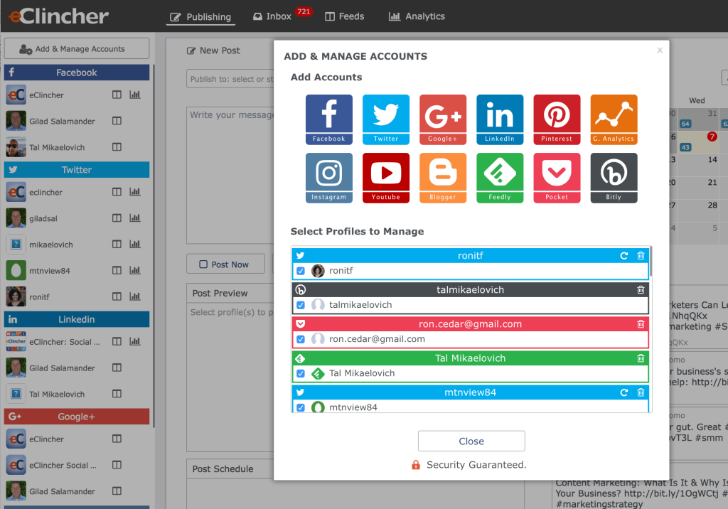Add Manage Accounts with eClincher