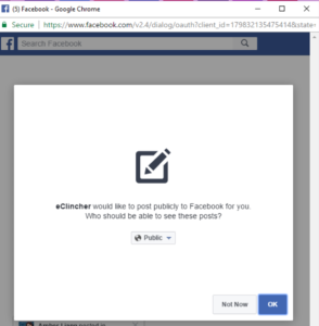 Facebook permission to eClincher