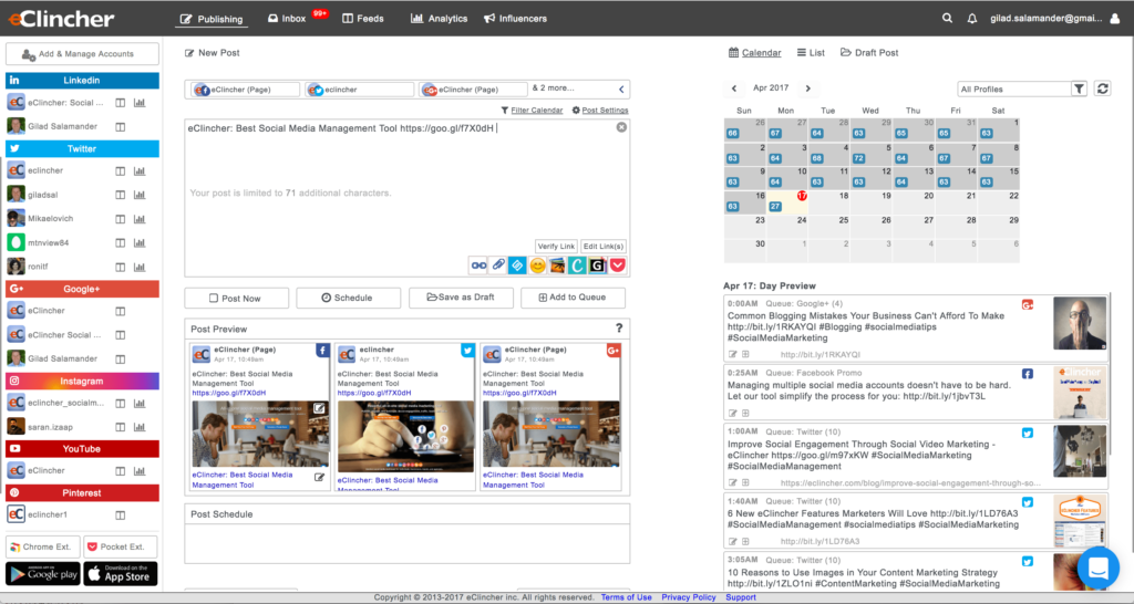 Publish and schedule to social media accounts
