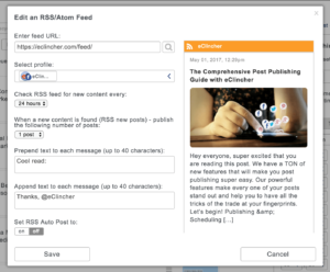 Auto Post with RSS feeds settings - Automatically post fresh new content from RSS feeds.