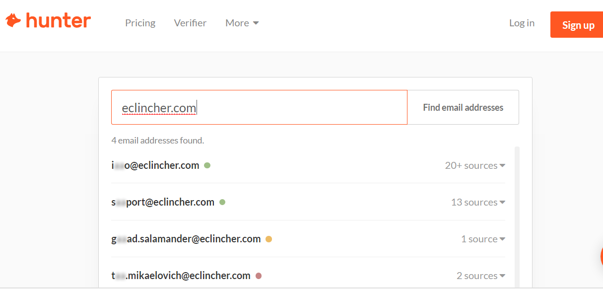 how to use hunter to find emails of an influencer