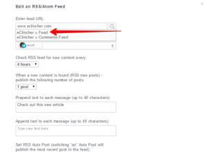 click on feed to create an auto post with rss feed eclincher social media tool