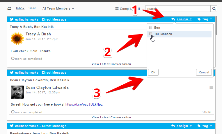 how to assign a task on inbox to a team member on eClincher