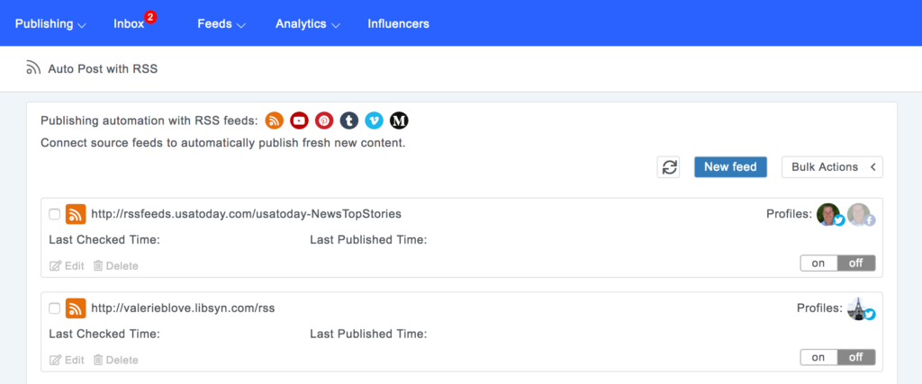 auto publish from RSS feeds