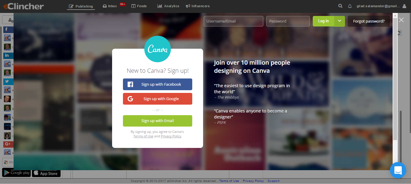 how to view canva within eclincher platform