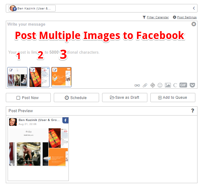 How to post multiple photos on facebook page