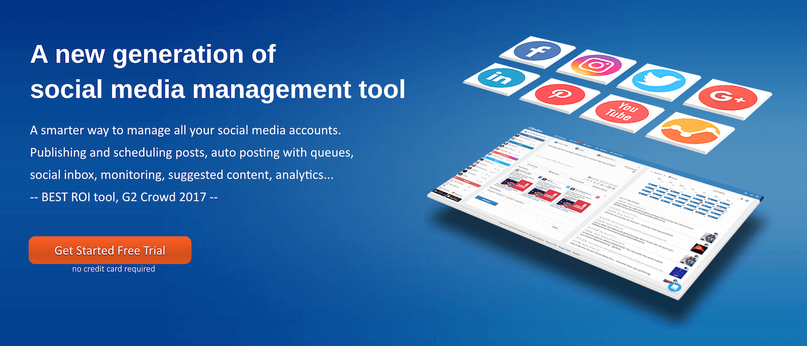 social media management tool with floating social icons