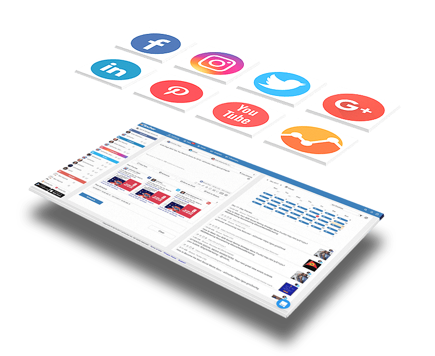 social media management tool and floating social icons