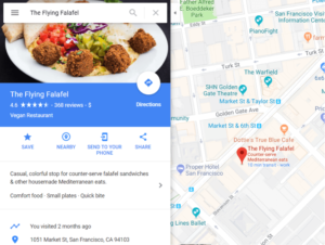 business displayed on google maps