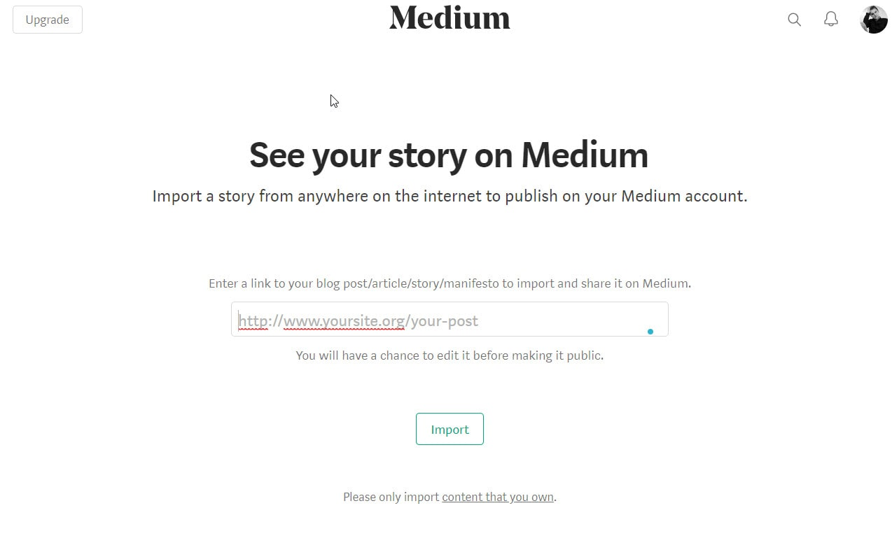 Import story to medium