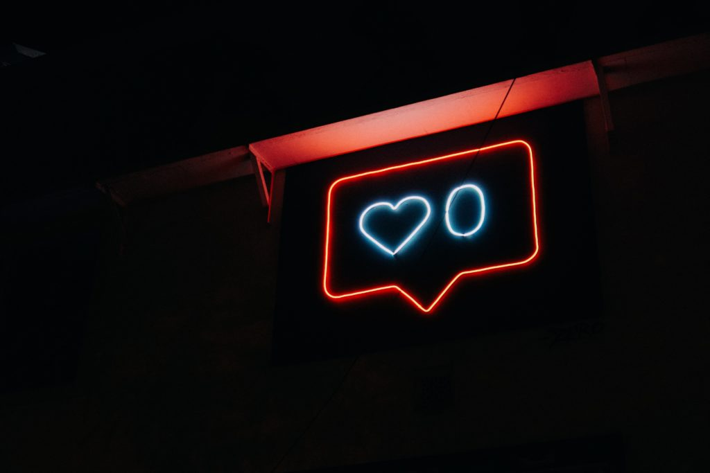 instagram likes neon sign