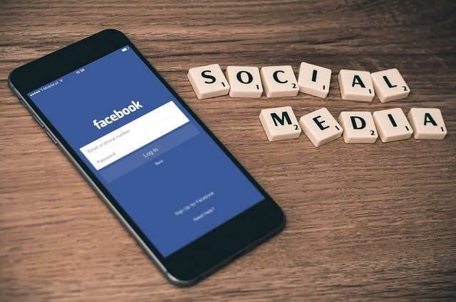 social media and facebook on smartphone