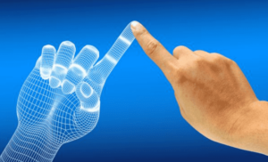 index fingers touching with blue background