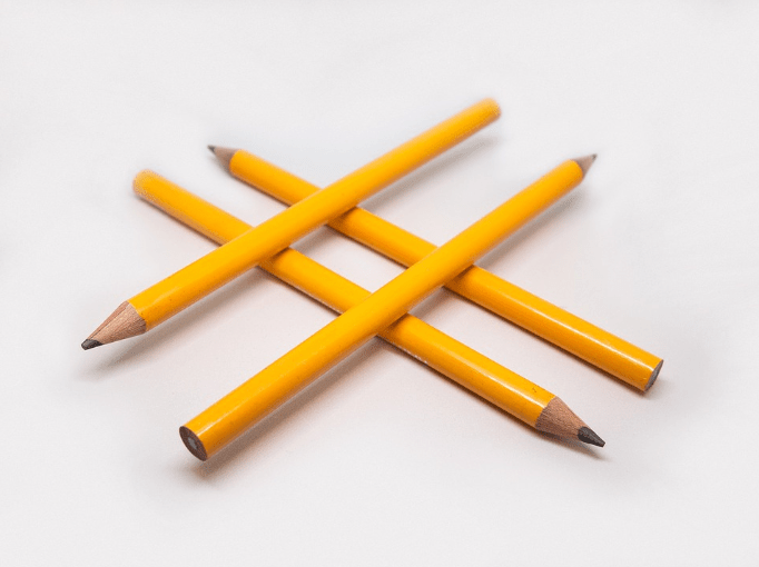 pencils forming hashtag