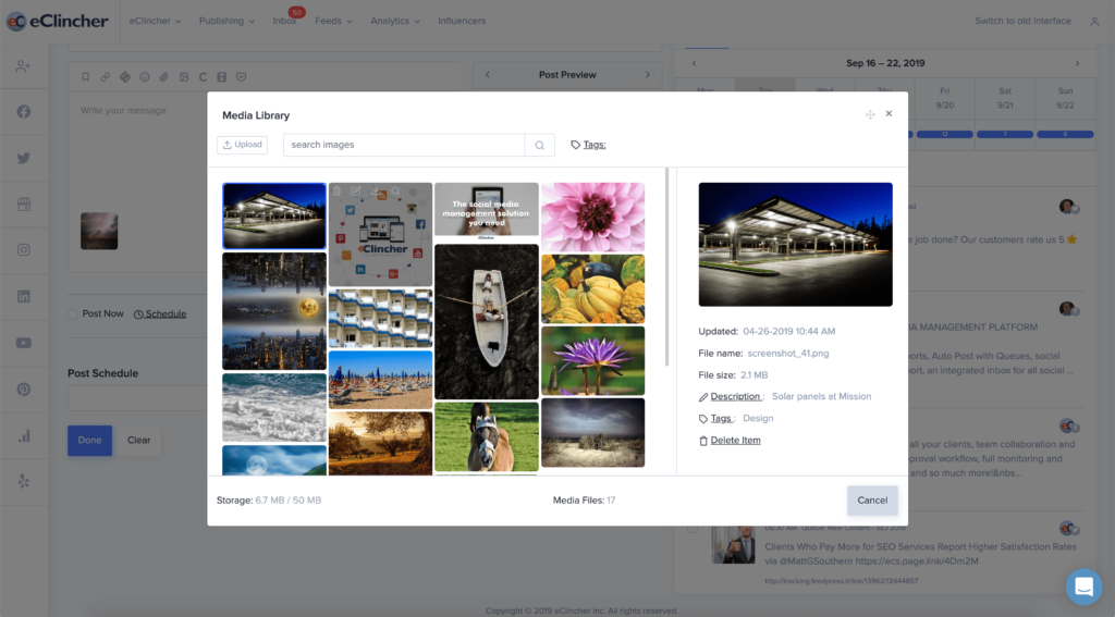 Media library to store images on the cloud