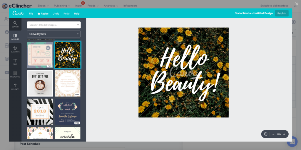 Social media management tool with Canva integration