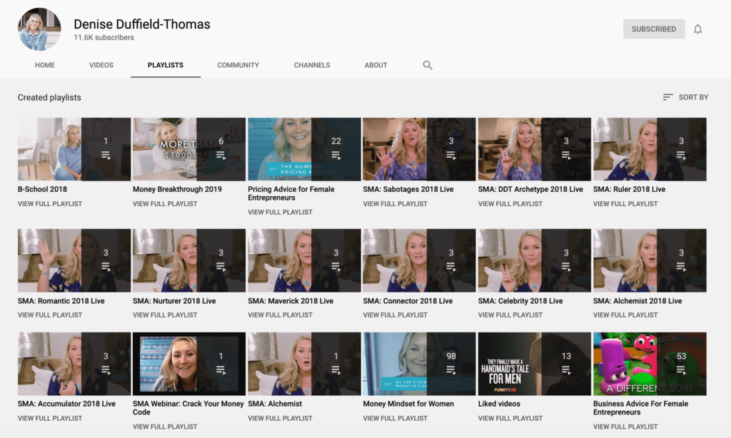 denise duffield-thomas youtube playlists