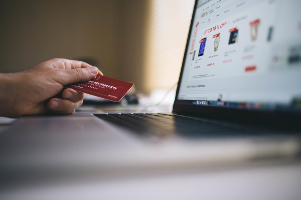 person online shopping using credit card